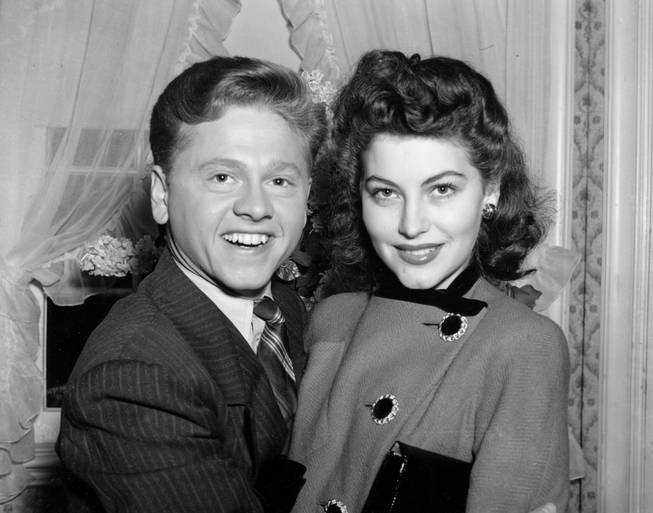 Mickey Rooney, 21, Movieland's No.1 boxoffice star, and Ava Gardner, 19, of Wilson, N.C., pose together in this January 5, 1942 photo, at Santa Barbara, Calif., shortly after the couple applied for a license to marry.