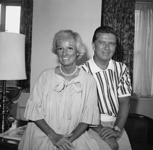 Comedienne Phyllis Diller, 45-year-old mother of five, shown with her husband, Sherwood, Sept. 3, 1963 at the Americana Hotel in New York City.