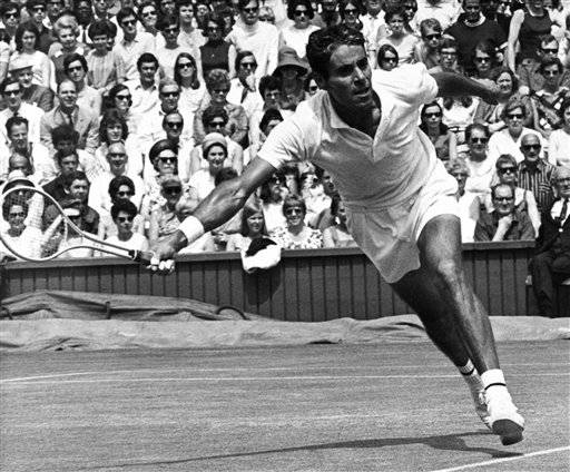 American Pancho Gonzales is seen in action against fellow American Arthur Ashe in the fourth round of the men's singles in the Wimbledon Tennis Championships, London on June 28, 1969. Ashe won 7-5, 4-6, 6-3, 6-3. (AP Photo)