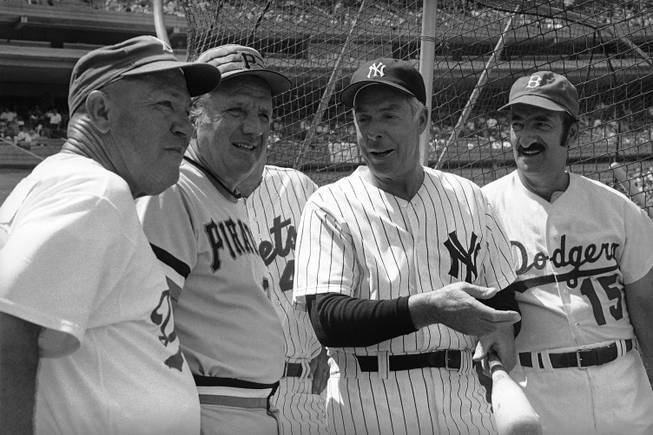 Awaiting batting practice at Old Timers Day in New York on July 18, 1976, staged by the New York Mets are famous baseball names. From left are: Brooklyn Dodgers Pete Reiser; Pittsburgh Pirates Ralph Kiner; New York Yankees Joe DiMaggio and Brooklyn Dodgers Cal Abrams.