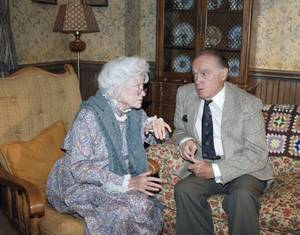 Comedian Bob Hope and Phyllis Diller pause during a break in taping of iStand by for HNN. The Hope (Funny) News Network,i which will air on NBC-TV on Sept. 8. Hope is interviewing Diller who is portraying a 131-year-old woman n ithe oldest person in the world.i in Burbank, California on Sept. 3, 1988.