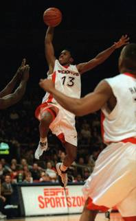 St. John's guard Felipe Lopez (13) soars to the hoop in second half action against the University of Connecticut Monday, Jan. 19, 1998, at Madison Square Garden in New York. St. John's upset U. Conn. 64-62.