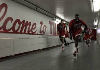 UNLV players run up the ramp to their locker room after defeating the Lobos on Jan. 9 at The Pit in Albuquerque, N.M. The Rebels beat the 15th-ranked Lobos, 74-62.