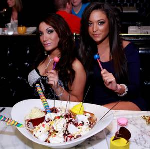 "Sammi ""Sweetheart"" Giancola celebrates her 24th birthday inside Sugar Factory at Paris with Deena Nicole Cortese and Scott Disick on Saturday, March 12."