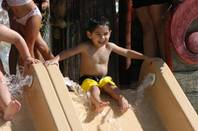 A little boy gets ready to go down a water slide at a Utah Cowabunga park. (Courtesy Photos)