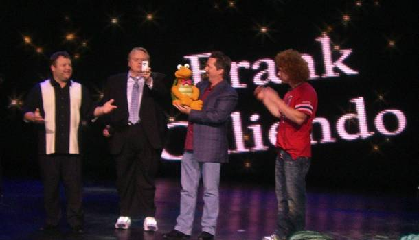 Frank Caliendo, Louis Anderson, Terry Fator and Carrot Top at Frank's grand opening at the Monte Carlo on Nov. 13, 2009.