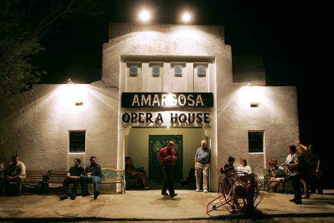 "Patrons wait for the doors to open for Marta Becket's performance of her one-woman show ""Masquerade"" to open the 2005-2006 season at the Amargosa Opera House in Death Valley Junction Oct. 1st, 2005."