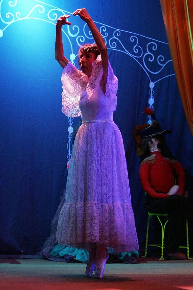 "Marta Becket dances en pointe during her one-woman show ""Masquerade"" to open the 2005-2006 season at the Amargosa Opera House in Death Valley Junction Oct. 1st, 2005."