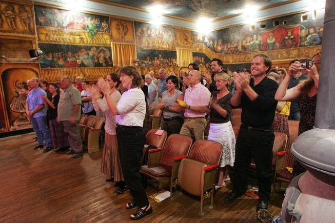 "Marta Becket receives a standing ovation after performing her one-woman show ""Masquerade"" to open the 2005-2006 season at the Amargosa Opera House in Death Valley Junction Oct. 1st, 2005."