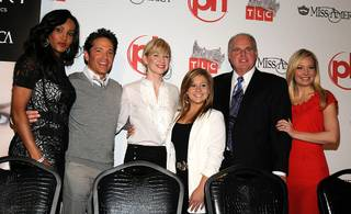 The judges of the 2010 Miss America Pageant Vivica A. Fox, Dave Koz, Brooke White, Shawn Johnson, Rush Limbaugh and Katie Harman attend a news conference at Planet Hollywood on Jan. 27, 2010.