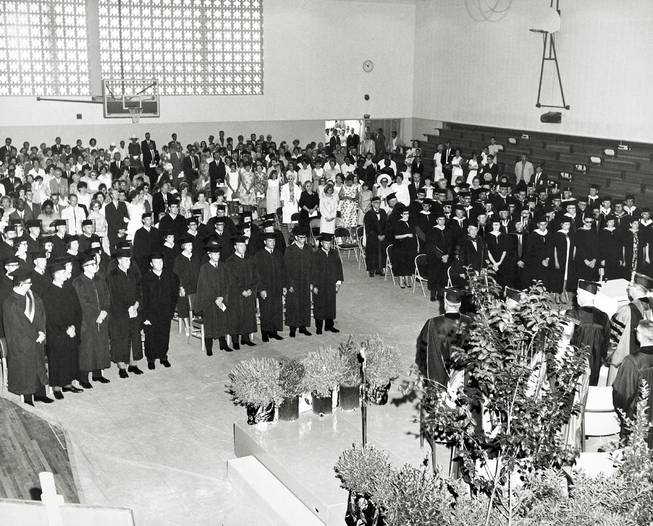 Nevada Southern University's second graduation ceremony in 1965 was held in the gym, which is now the UNLV Marjorie Barrick Museum. (UNLV Special Collections)
