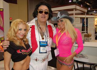 Then-Sun columnist Tom Gorman wondered if he could attract attention at the Adult Entertainment Expo in 2006 if he dressed up as Elvis.  Seems that he did.