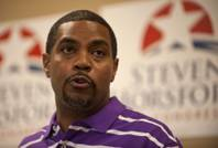 Steven Horsford announces his intentions to run for re-election in the 2014 before a gathering of constituents at his campaign headquarters in North Las Vegas on Friday afternoon.
