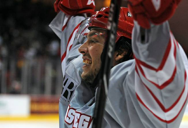 Las Vegas Wranglers forward Mathieu Aubin celebrates a third period Wranglers scored by teammate Chad Nehring against the Utah Grizzlies on Friday night at the Orleans Arena.