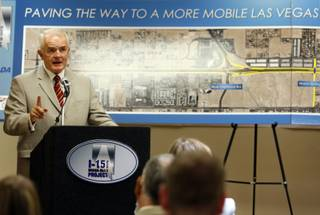 Gov. Jim Gibbons speaks during a news conference on the I-15 Design-Build project Thursday at Las Vegas Paving offices. The $246.5 million project is funded through Assembly Bill 595, which includes funds diverted from room tax revenue.