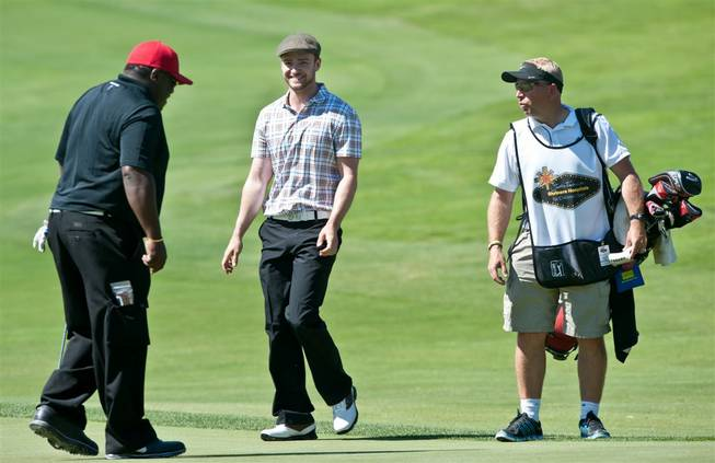 Justin Timberlake at the weeklong Justin Timberlake Shriners Hospitals for Children Open at TPC Summerlin on Sept. 28, 2011. Timberlake's guests and competitors this week include Marshall Faulk, Bo Jackson, Anthony Anderson, George Lopez, Cedric the Entertainer and Trevor Immelman.