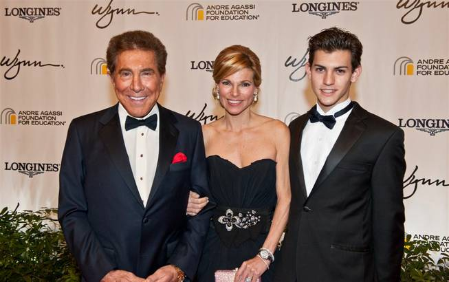 Steve Wynn, wife Andrea Hissom and stepson Nick Hissom attend the Andre Agassi Grand Slam red carpet and benefit gala at Wynn Las Vegas on Oct. 29, 2011.