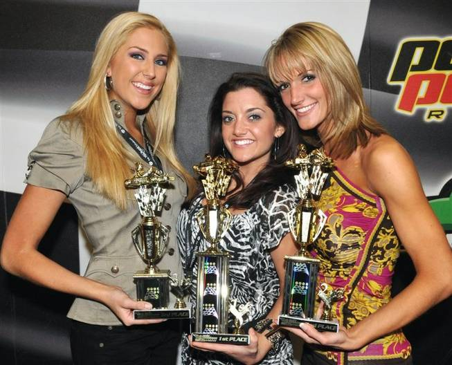 The contestants of the 2010 Miss America Pageant at Pole Position Raceway.