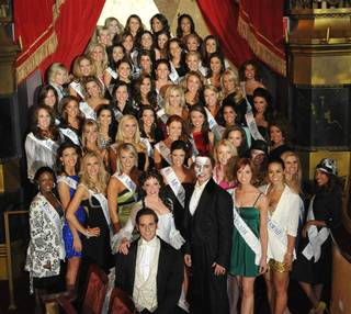 The contestants of the 2010 Miss America Pageant with Phantom cast members Andrew Ragone, Kristi Holden and Anthony Crivello at The Venetian on Jan. 25, 2010.
