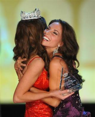 The 2010 Miss America Pageant contestants compete in the second evening of preliminary competition at Planet Hollywood on Jan. 27, 2010. 2009 Miss America Katie Stam, left, and winner Miss New York Alyse Zwick, for Lifestyle & Fitness, are pictured here.
