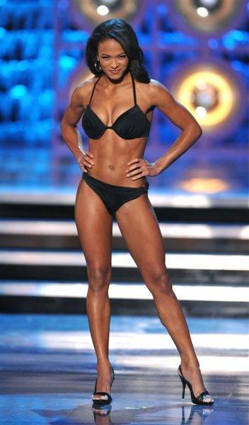The 2010 Miss America Pageant contestants compete in the third evening of preliminary competition at Planet Hollywood on Jan. 28, 2010. Miss Oregon C.C. Barber was the night's Lifestyle & Fitness winner.