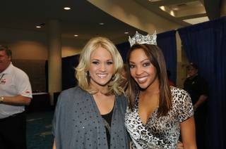 2010 Miss America Caressa Cameron attends Super Bowl XLIV festivities in Miami, and our photographer Tom Donoghue is with her in Florida. Caressa is pictured here with Carrie Underwood, who is performing the national anthem at the Super Bowl.