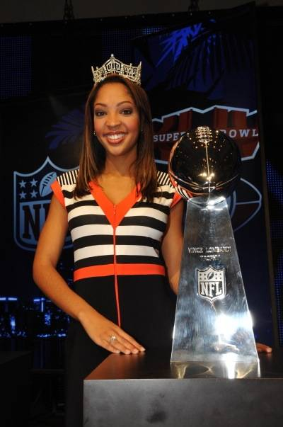 2010 Miss America Caressa Cameron attends Super Bowl XLIV festivities in Miami, and our photographer Tom Donoghue is with her in Florida. Caressa is pictured here with the Vince Lombardi Super Bowl trophy.