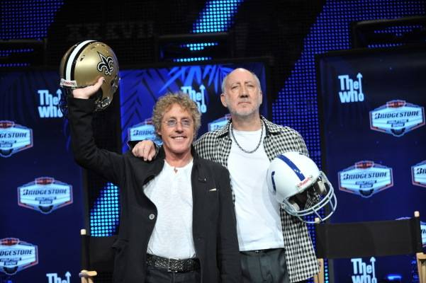 2010 Miss America Caressa Cameron attends Super Bowl XLIV festivities in Miami, and our photographer Tom Donoghue is with her in Florida. The Who's Roger Daltrey and Pete Townshend are pictured here; The Who are performing at halftime.