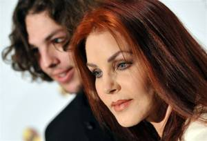 Priscilla Presley and her 23-year-old son Navarone Garibaldi on the blue carpet for the <em>Viva Elvis</em> world premiere at Aria in CityCenter on Feb. 19, 2010.