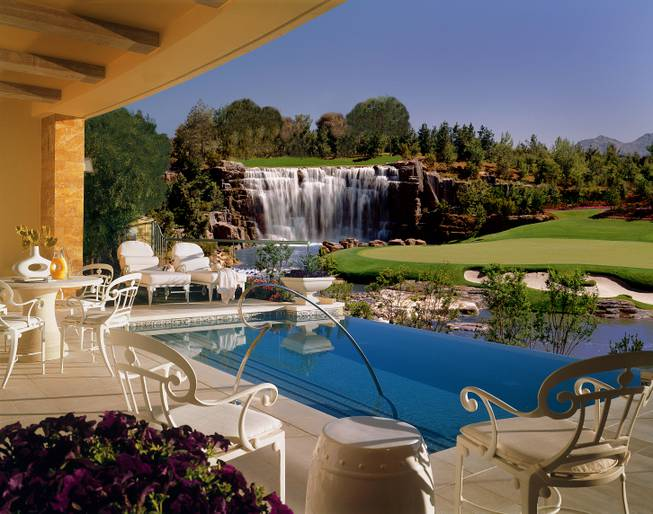 The Wynn gold course is seen from a Fairway Villa's deck area.
