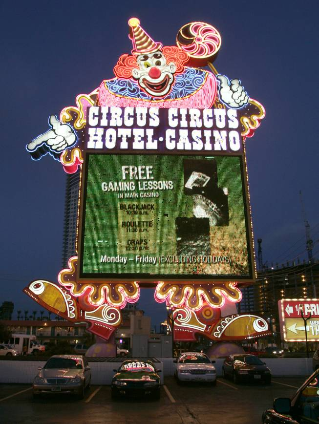 A view of the Circus Circus hotel-casino sign on the Las Vegas Strip, Dec. 26, 2007.