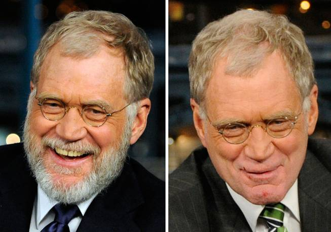 "In this combination of two photos made available by CBS, David Letterman is shown on the set of ""The Late Show with David Letterman""  in New York before and after shaving his beard. In the Jan. 2, 2008 file photo, left, Letterman is seen on his first night back to the show since the start of the Writers Guild of America strike. At right, Letterman is shown after having his beard shaved off on-air during the program Monday, Jan. 7, 2008."