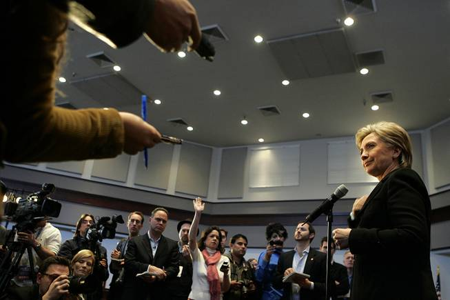 Sen. Hillary Clinton takes questions from reporters after a discussion Wednesday at UNLV about the proposed nuclear waste dump at Yucca Mountain. Clinton and her Democratic rivals all oppose it.