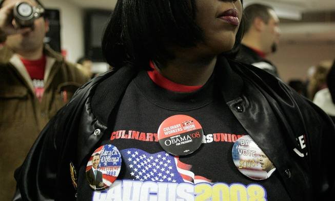 Carla Lovely Brown attends a caucus day rally at the Culinary Union headquarters in Las Vegas early Saturday morning. By the end of the day, frustration and disappointment had gripped union leaders.