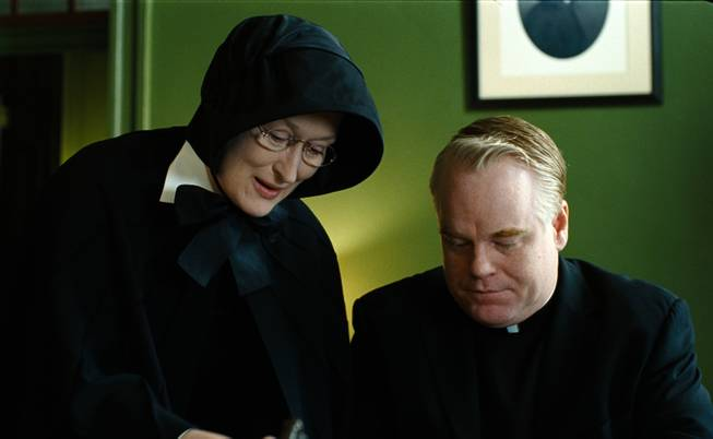 "In this image released by Miramax Film Corp., Philip Seymour Hoffman portrays Father Flynn, right, and Meryl Streep portrays Sister Aloysius  in a scene from ""Doubt."""