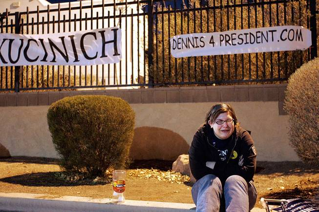 Briana Falb-Joslin of St. Paul, Minn., cries outside Cashman Center after hearing Dennis Kucinich was out of the debate in Las Vegas.