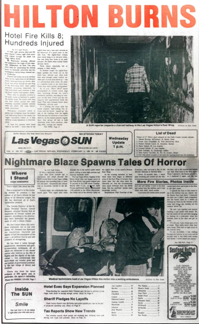 The front page of the Wednesday, Feb. 11, 1981, edition of the Las Vegas Sun on the Hilton fire.