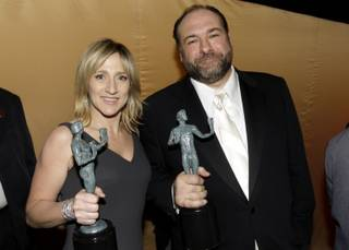 James Gandolfini and Edie Falco backstage at the 14th Annual Screen Actors Guild Awards on Sunday, Jan. 27, 2008, in Los Angeles.