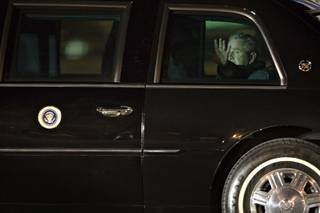 President George W. Bush arrives on Air Force One at McCarran International Airport in Las Vegas on Wednesday night, January 30, 2008.