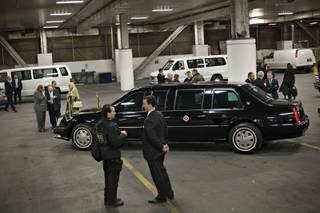The presidential limousine, security and motorcade stage in the loading dock area of The Venetian while waiting for the arrival of President George W. Bush. Bush was in Las Vegas to deliver a speech to the Nevada Policy Research Institute and attend a Republican fundraiser on Thursday, Jan. 31, 2008.