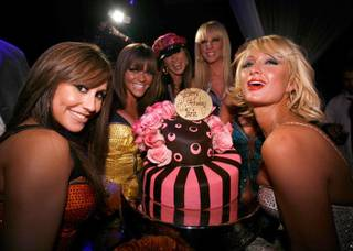 Paris Hilton celebrates her birthday as a Pussycat Doll at Pure in Caesars Palace on Feb. 16, 2008.
