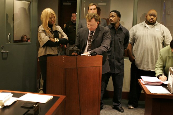 "Adam ""Pacman"" Jones, center right, appears in court Dec. 6 with co-defendants Sadia Morrison and Robert ""Big Rob"" Reid, and his lawyer Robert Langford, center, before Hearing Master Kevin Williams at the Clark County Regional Justice Center."