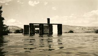 In this undated photograph, water rises over the ruins of St. Thomas.