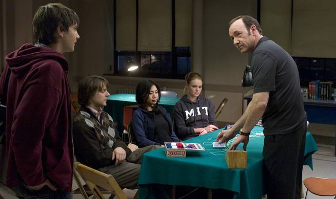 "From left, Jim Sturgess, Jacob Pitts, Liza Lapira, Kate Bosworth and Kevin Spacey appear in ""21,"" about MIT students who took Vegas for millions."