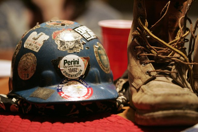 "Harold ""Rusty"" Billingsley's hard hat and work boots are reminders of the job that led to the ironworker's death Oct. 5 while working on CityCenter."