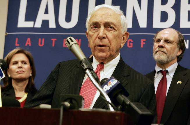 New Jersey Sen. Frank  R. Lautenberg, 84, announces his candidacy for re-election as wife Bonnie S. Englebardt, left and Gov. Jon S. Corzine, right, look on, Monday, March 31, 2008, in Trenton, N.J. (AP Photo/Mel Evans)