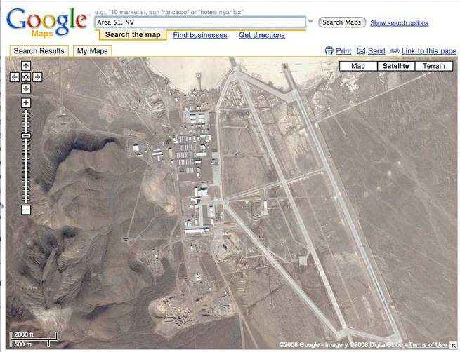 A satellite photo of Area 51 taken from Google Maps.