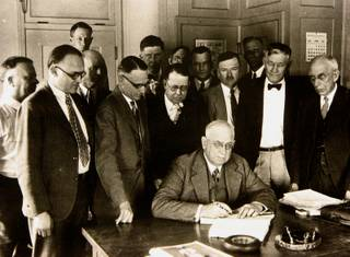 Henry Jo Kaiser signs a contract on March 11, 1931 for the federal government to start building the Hoover Dam with the help of contractor Six Companies Inc. Six Companies Inc. was a joint venture between Bechtel Corporation, Kaiser Industries, and several smaller construction companies across the West. The project started on April 20, 1931 and finished on March 1, 1936. It cost $49 million and is the second highest dam in the country.