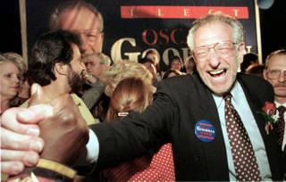 Las Vegas Mayor-elect Oscar Goodman is congratulated on June 8, 1999 after beating City Councilman Arnie Adamsen in the mayoral race. Goodman has served three consecutive terms as mayor of Las Vegas.
