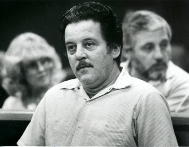 "Las Vegas mobster Anthony Spilotro sits in court, Feb. 10, 1983. Spilotro masterminded a burglary ring called the Hole in the Wall Gang with his brother Michael in 1976.  Joe Pesci's character in the film ""Casino"" was based on Spilotro."